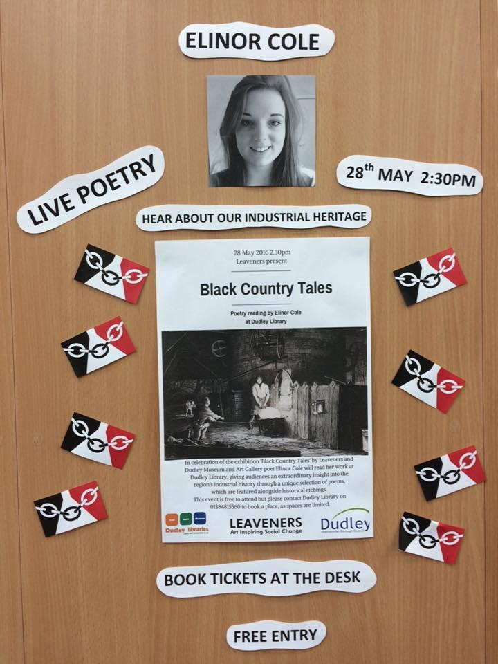 A poster for 'Black Country Tales' tacked to a library wall. It is surrounded by various other slips of paper - 'live poetry' '28 May 2.30pm', 'hear about our industrial heritage', 'book tickets at the desk', 'free entry', 'elinor cole', a picture of a young woman (Nellie) and eight little Black Country flags.