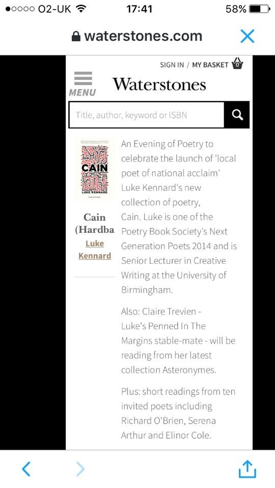 A screenshot of a webpage, from the Waterstones website, advertising an event for 'Cain, by Luke Kennard'.