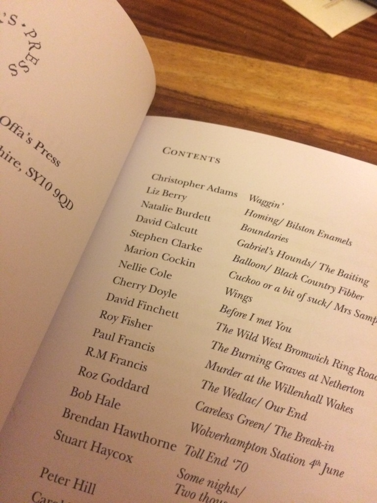 The contents page of 'The Poetry of the Black Country', where 'Nellie Cole - Wings' is listed about half-way down.