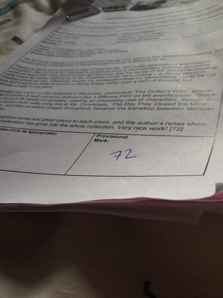 A printed page of assignment feedback, with the focus on the bottom of the page where the number '72' is written in blue ink.