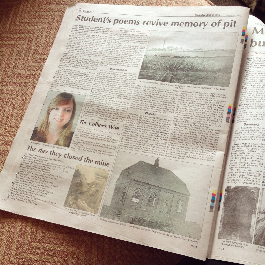 A page in a newspaper. The title reads 'Student's poems revive memory of pit', and further down there are the headings 'The Collier's Wife' and 'The Day They Closed the Mine'. These are the names of two poems published below. There is also a photograph of the head and shoulders of a young woman (Nellie Cole).