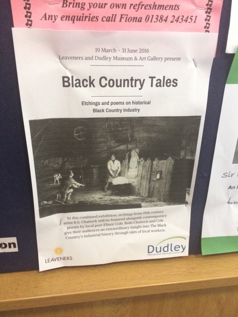 An advertising poster for 'Black Country Tales' stapled to a notice board.