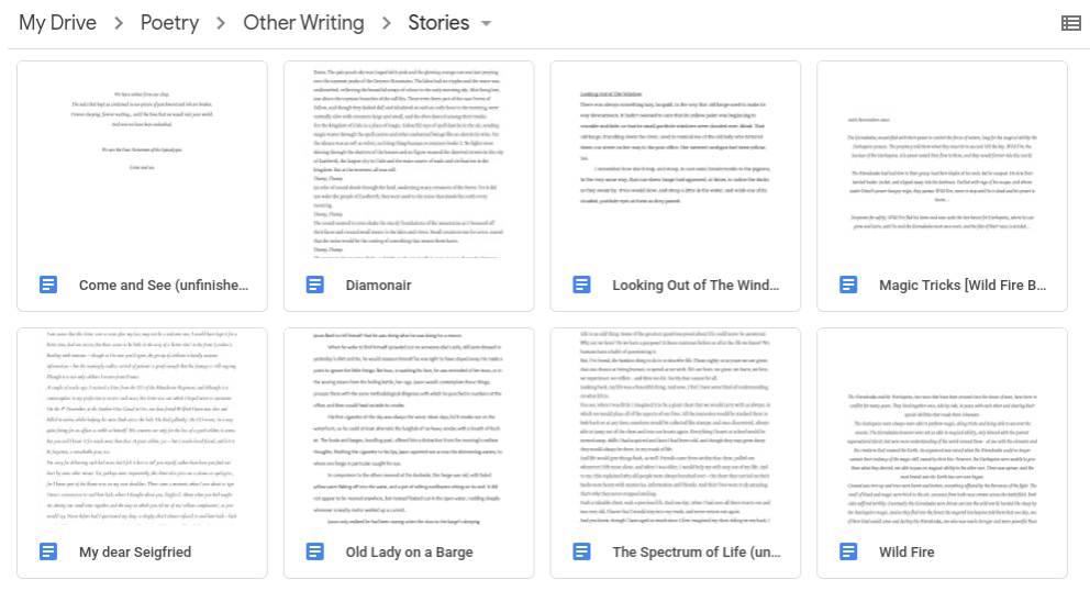 A screenshot of files in Google Drive, with the names of some of my earliest novels.