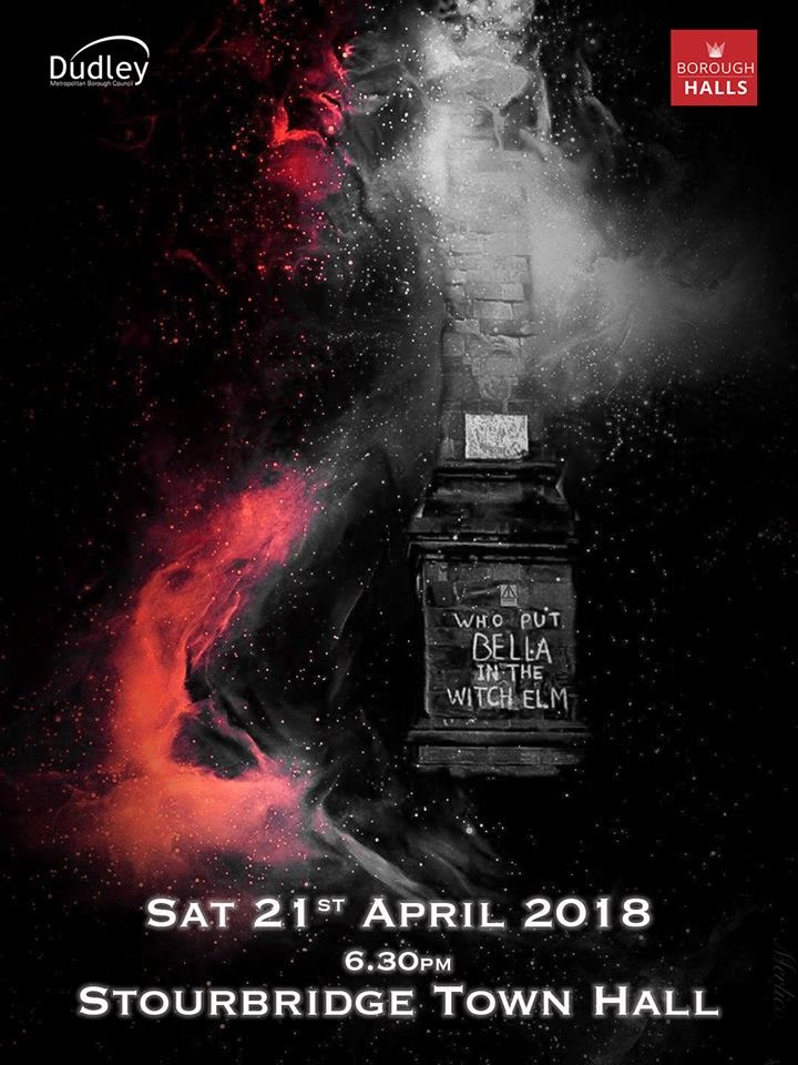 A poster giving the times, dates and locations of an event. The background is black, with a greyscale picture of the Wychbury monument (which reads 'who put Bella in the Witch Elm'), surrounded by red flames and sparks.
