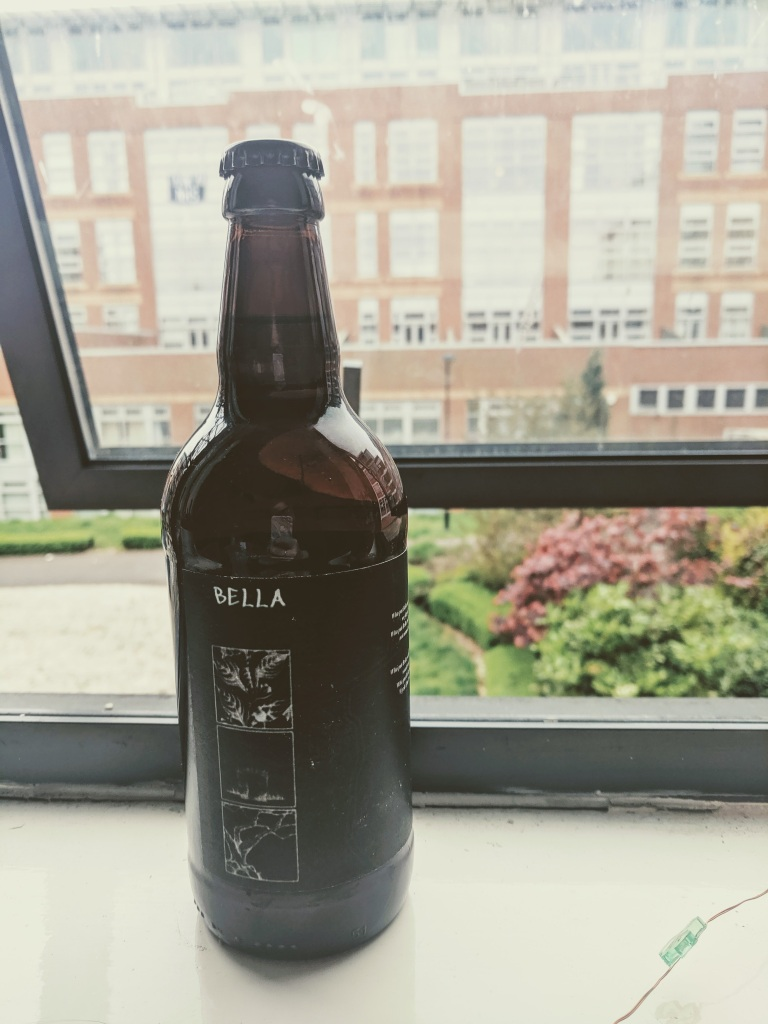 A beer bottle, labelled with the same art design as the book cover of 'Bella', sits on a windowsill.