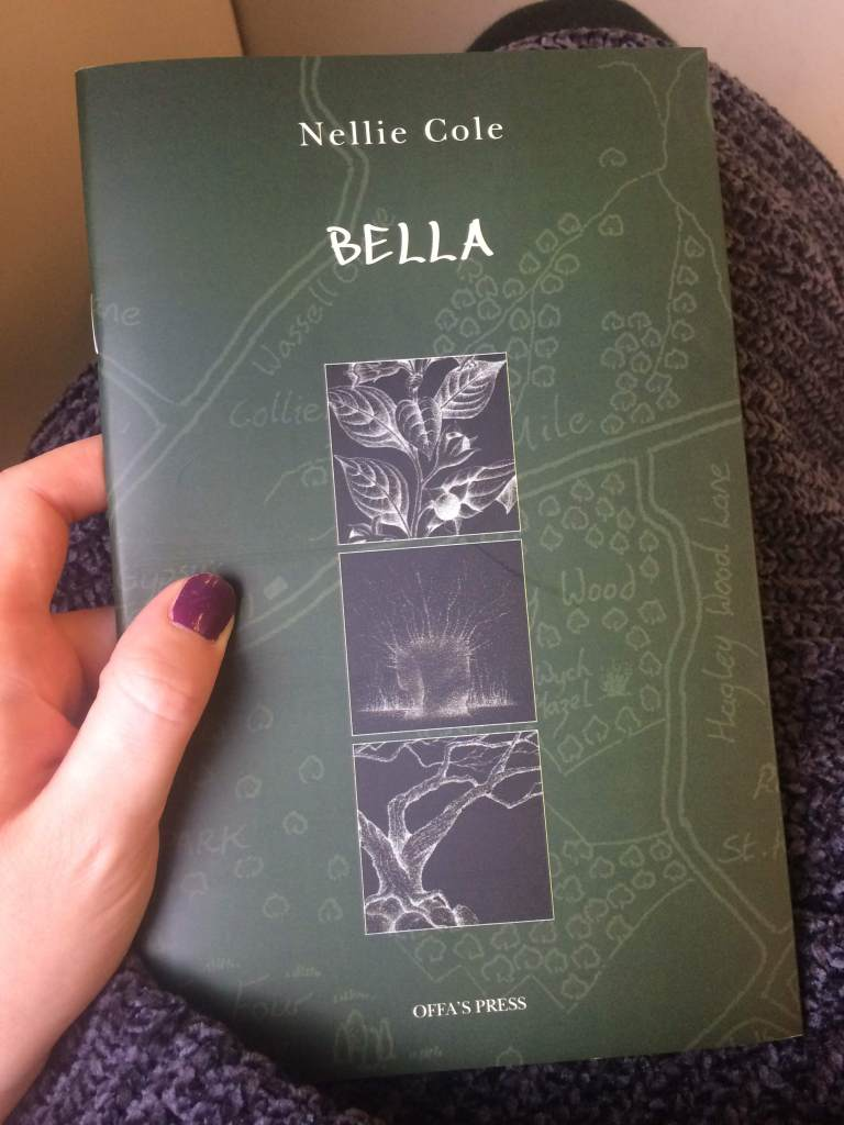 A copy of Bella, by Nellie Cole, published by Offa's Press, with a dark green background and three panels of illustration.